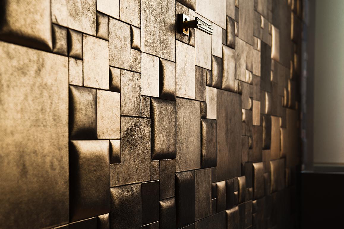 décoration de mur de cuir doré
